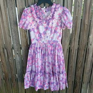 Vintage 60s Dress Pink Purple Daisy Swing Waist 26